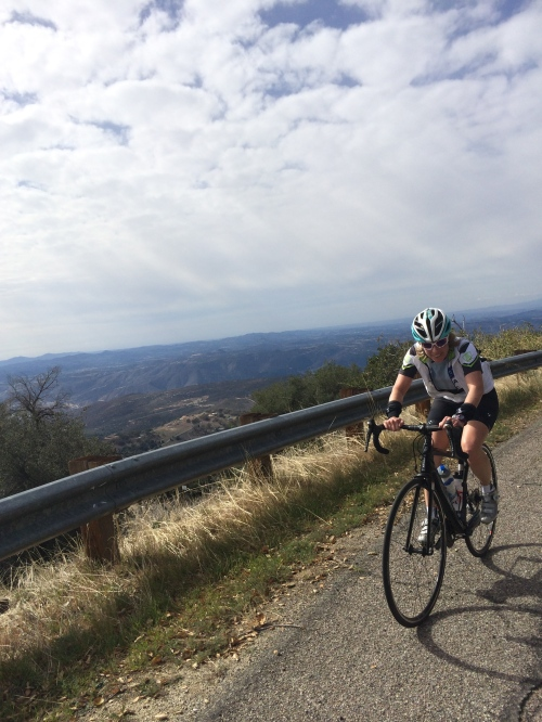 Liz getting her climb on in the mountains outside of San Diego.  It may look cold, but it was a lot warmer than Wisco.