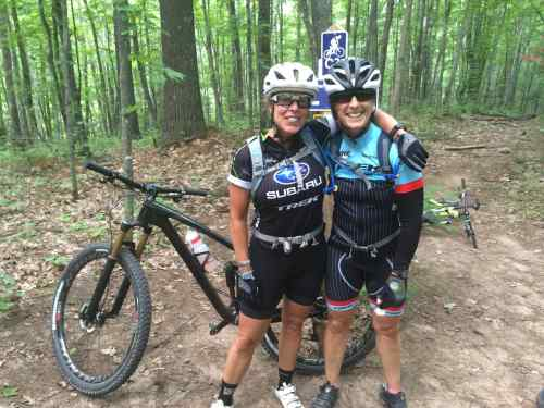 Liz and Kathy.  riding buddies.