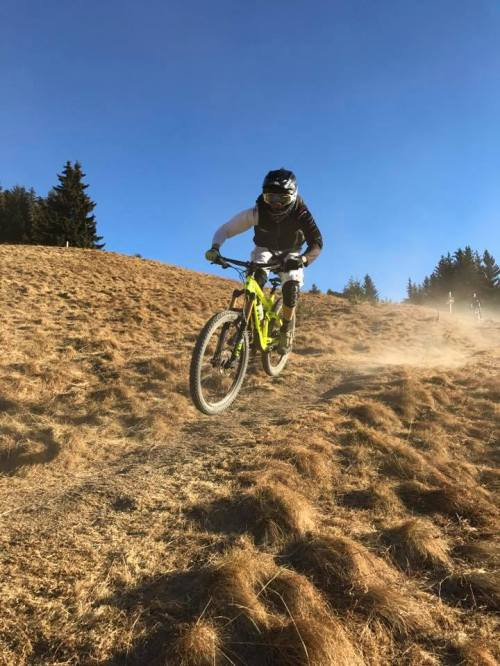 Ben exercising my bike this week in Chatel. This is why I need to get there. DUST!
